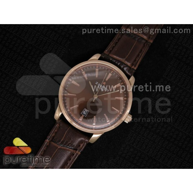 Cheap Discount Replica Elite Captain RG Brown Dial on Brown Leather Strap A2824
