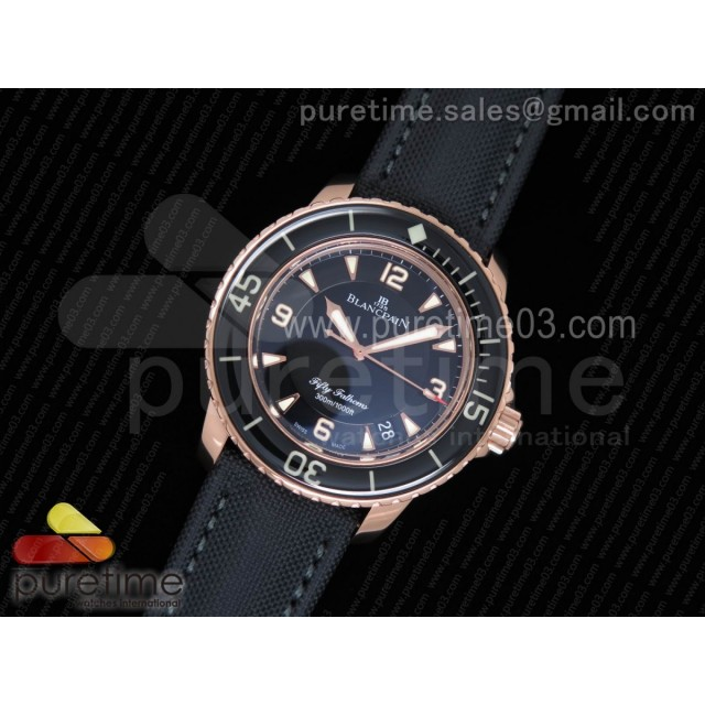 Fifty Fathoms RG Black ZF 1:1 Best Edition Black Dial on Sail-canvas Strap A2836 (Free Extra Strap)