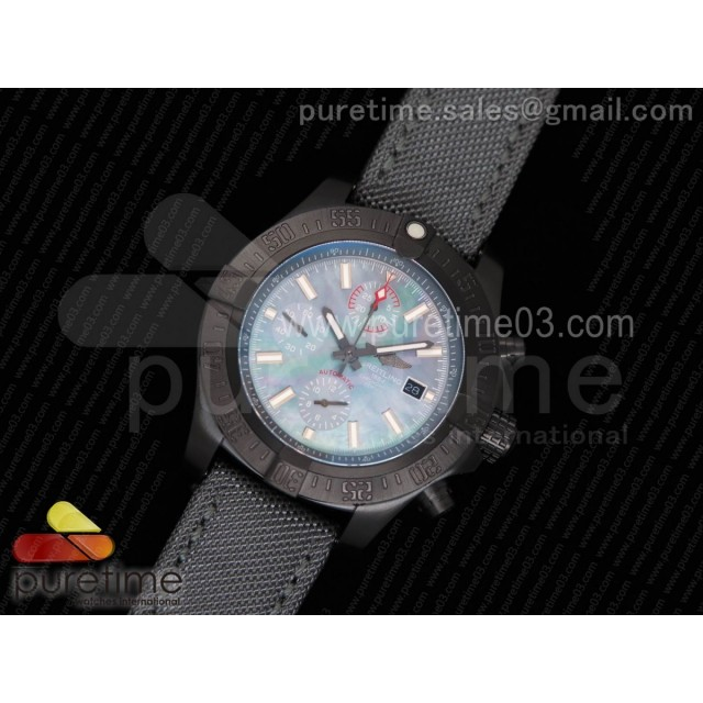 Avenger II Seawolf Chronograph PVD Case Blue MOP Dial on Gray Nylon Strap A7750