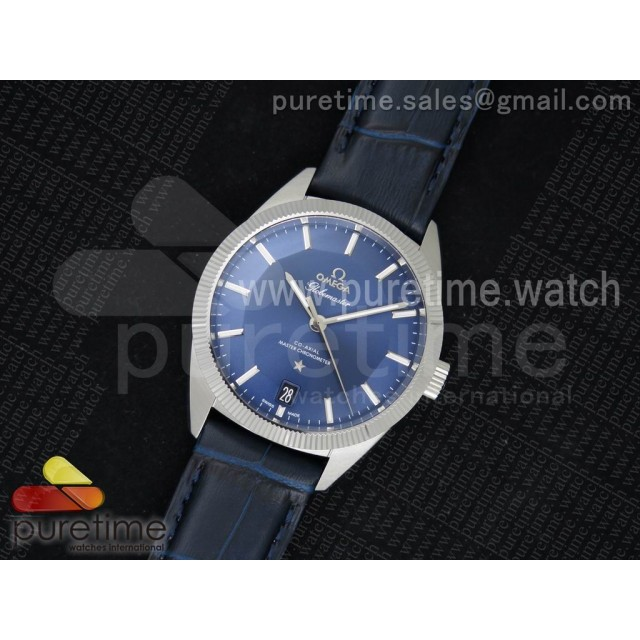 Globemaster Master Chronometer SS V6F Best Edition Blue Dial on Blue Leather Strap A8913