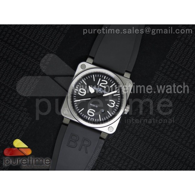BR 03-92 Steel Black Dial on Black Rubber Strap MIYOTA 9015 V2