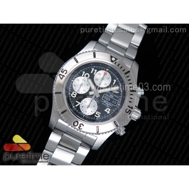 SuperOcan SteelFish Chronograph SS Black/White Dial on SS Bracelet A7750