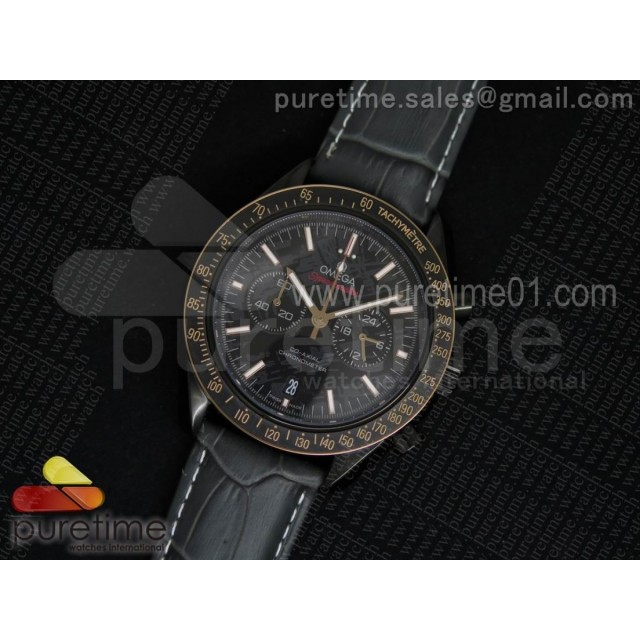 Speedmaster Co-Axial Chrono SS Black Textured Dial Gold Bezel Markers on Gray Leather Strap Jap Quartz