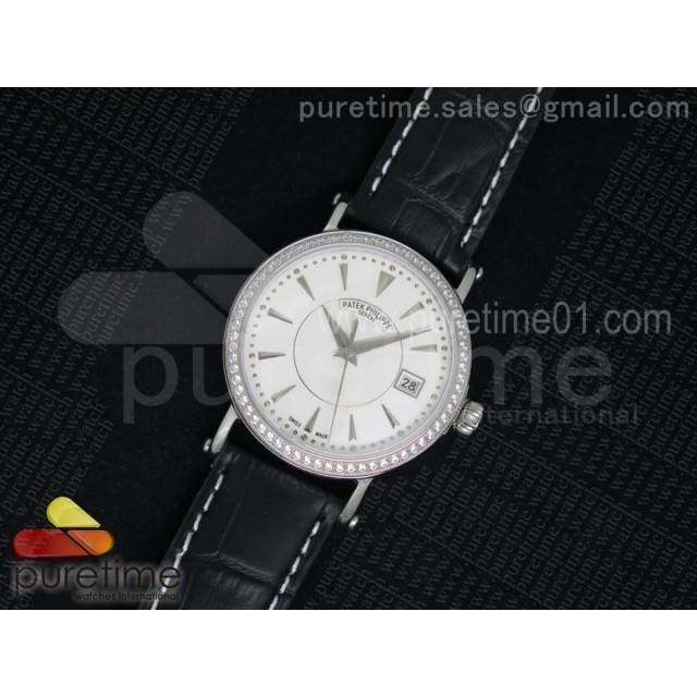Calatrava 5153 SS Diamonds Bezel White Dial on Black Leather Strap A324SC