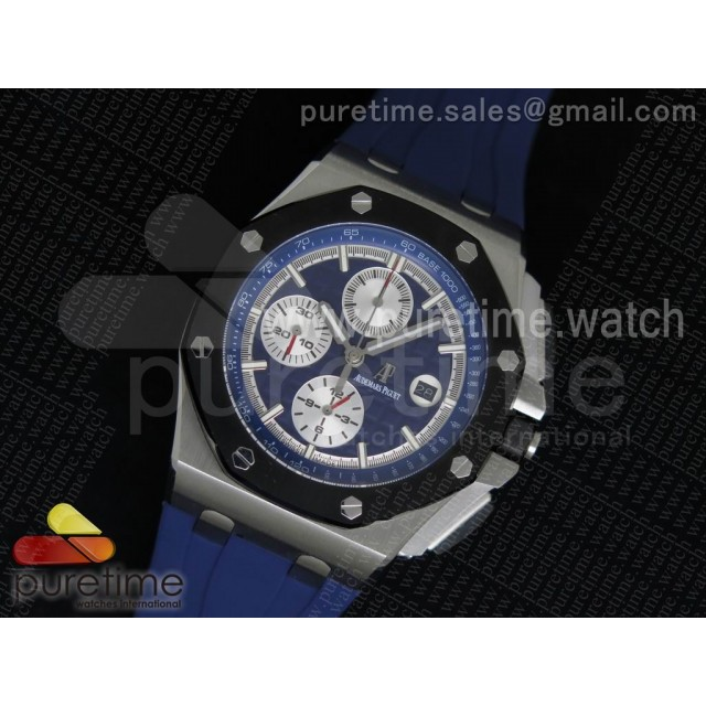 Royal Oak Offshore 44mm SS Lite Blue Dial on Blue Rubber Strap A3126