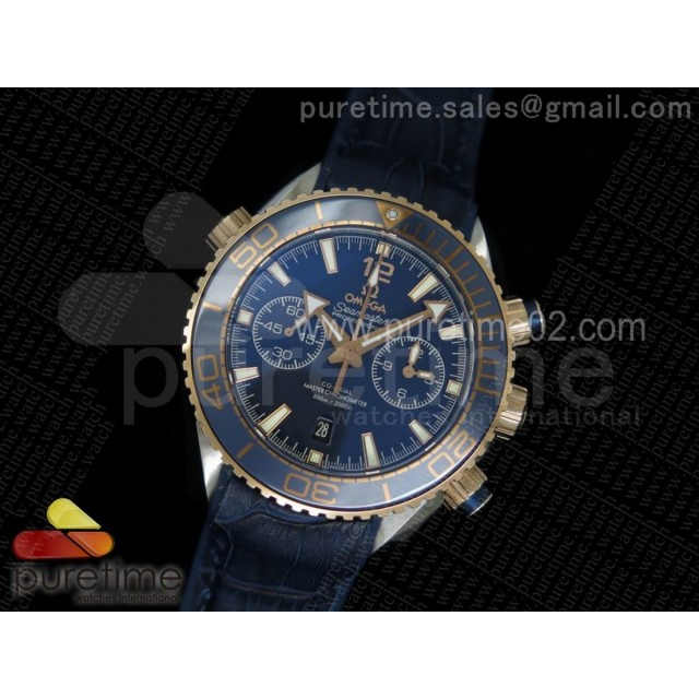Seamaster Planet Ocean Ceragold SS Blue Ceramic Bezel Black Dial on Blue Leather Strap A9301