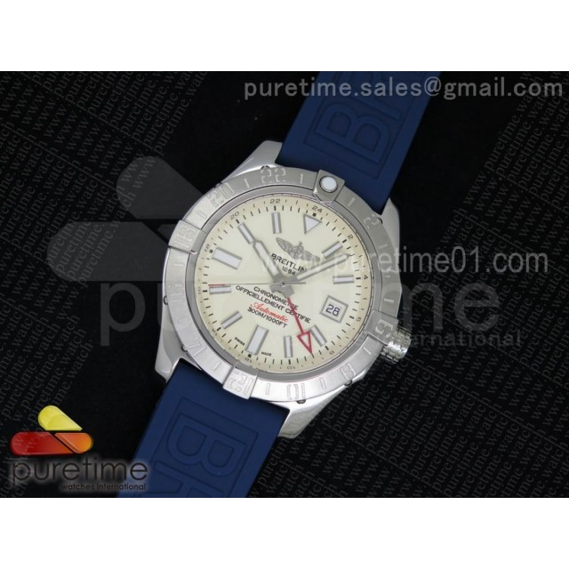 Avenger II GMT SS Cream Dial on Blue Rubber Strap A2836