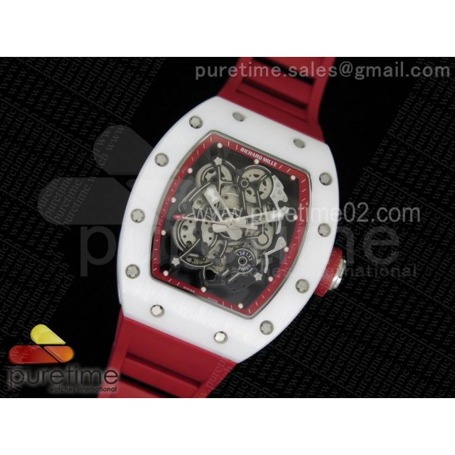 RM055 White Ceramic Red Inner Bezel Skeleton Dial on Red Rubber Strap MIYOTA8215
