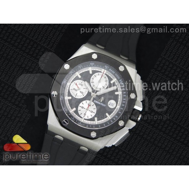 Royal Oak Offshore 44mm SS Lite Black Dial on Black Rubber Strap A3126