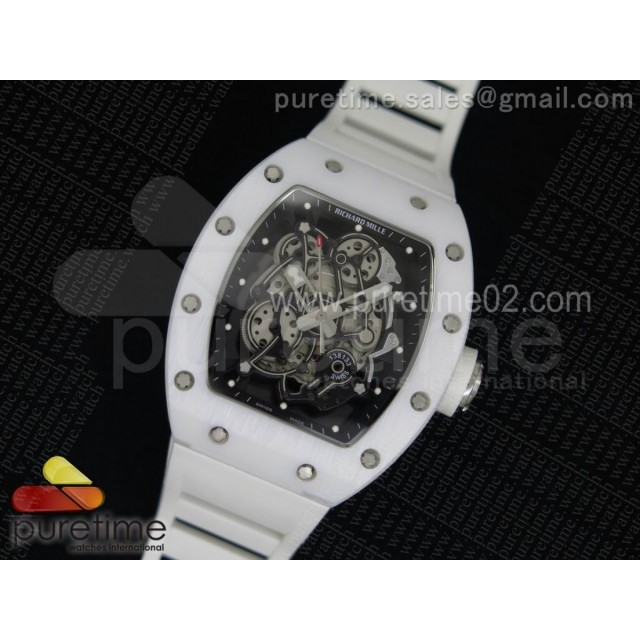 RM055 White Ceramic Black Inner Bezel Skeleton Dial on White Rubber Strap MIYOTA8215