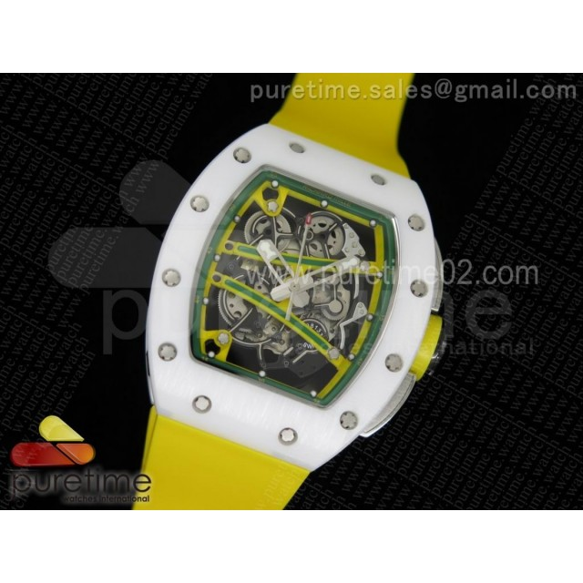 RM061 White Ceramic Yellow Inner Bezel Skeleton Dial on Yellow Rubber Strap MIYOTA8215