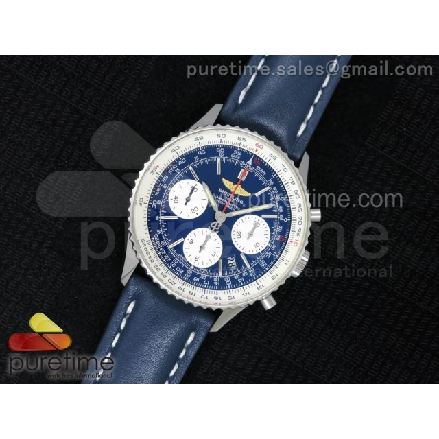 Navitimer 01 1:1 SS Blue Dial on Blue Leather Strap A7750