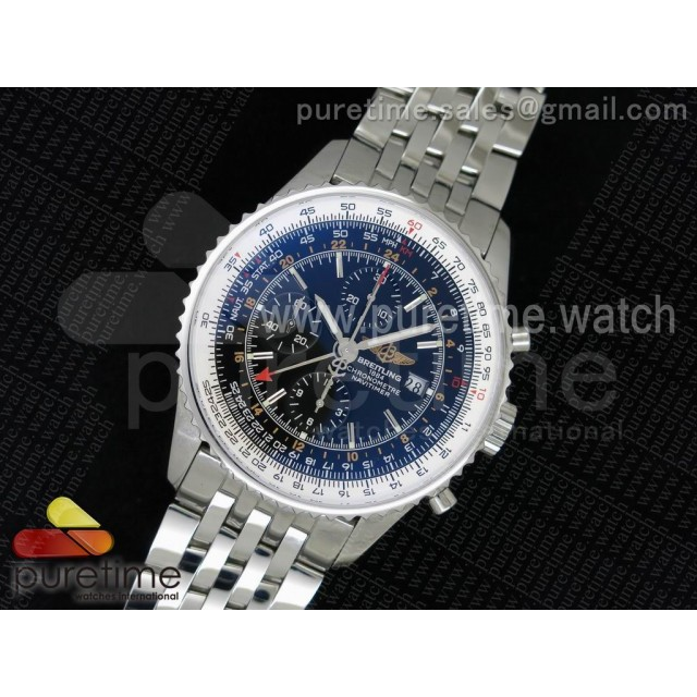 Navitimer GMT SS JF 1:1 Best Edition Black Dial on SS Bracelet A7750