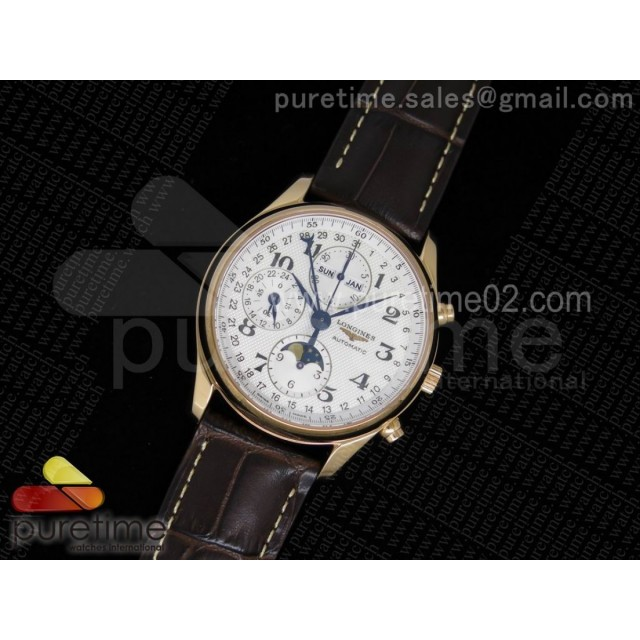 Master Moonphase Chronograph RG 40mm White Textured Dial on Brown Leather Strap A7751