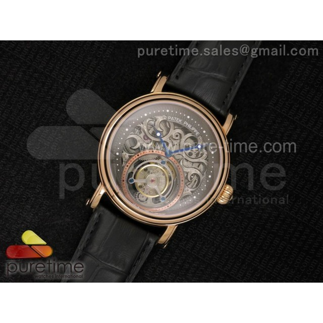 Classic Tourbillon RG AXF Gray Skeleton Dial on Black Leather Strap