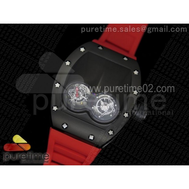 RM053 PVD Fake Tourbillon Skeleton Dial on Red Rubber Strap A2824