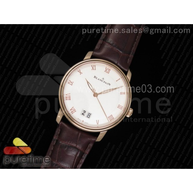 Villeret Grande Date RG White Dial on Brown Leather Strap A6950