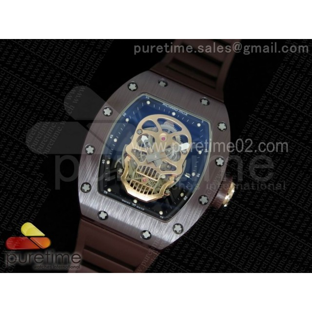 RM052 Brown Ceramic Gold Skull Dial on Brown Rubber Strap MIYOTA8215