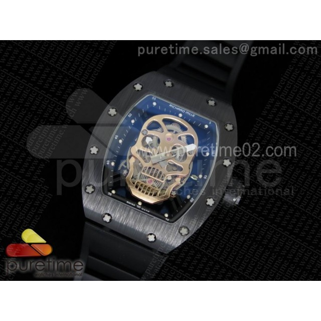RM052 Black Ceramic Gold Skull Dial on Black Rubber Strap MIYOTA8215