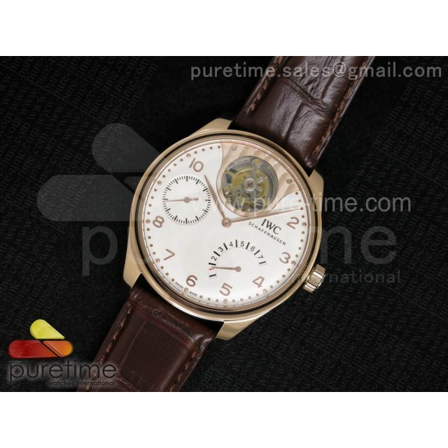 Portuguese Tourbillon Mystere RG TF Best Edition White Dial on Brown Croco Leather Strap