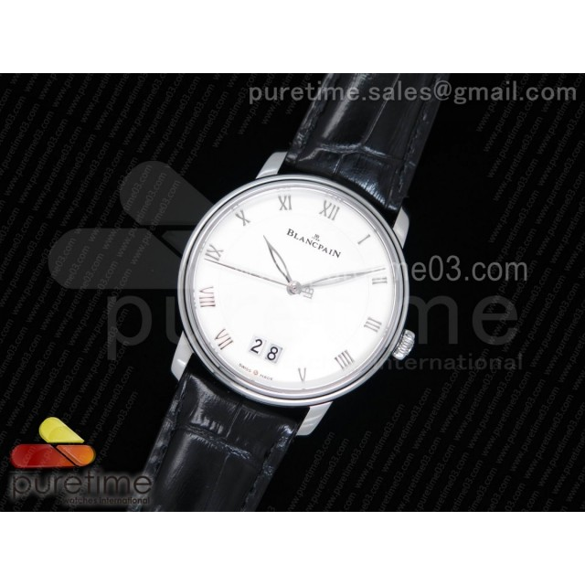 Villeret Grande Date SS White Dial on Black Leather Strap A6950