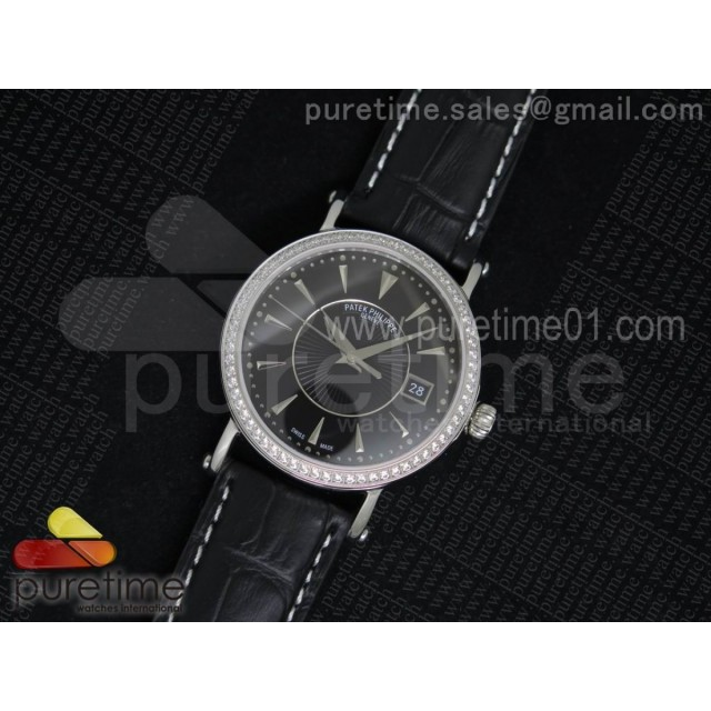 Calatrava 5153 SS Diamonds Bezel Black Dial on Black Leather Strap A324SC