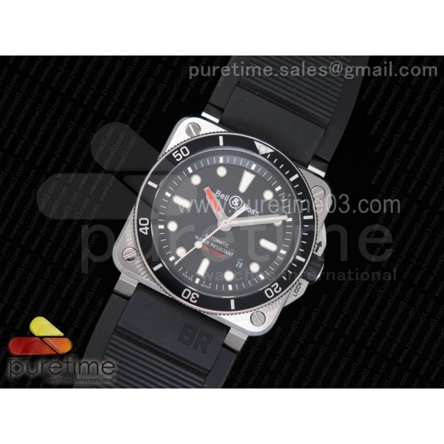 BR 03-92 Diver SS 1:1 Best Edition Black Dial on Rubber Strap MIYOTA 9015 (Free Nylon Strap)