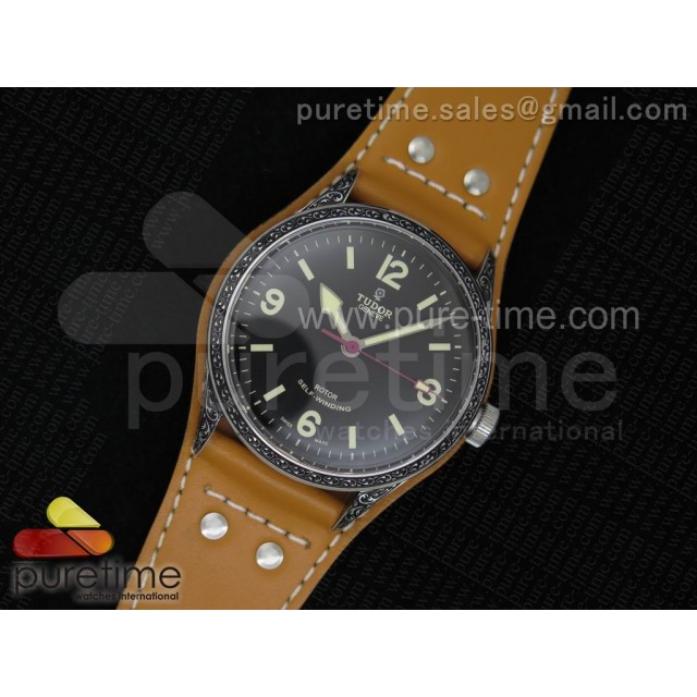 Heritage Ranger SS Engraved Case Black Dial on Brown Leather Strap A2824