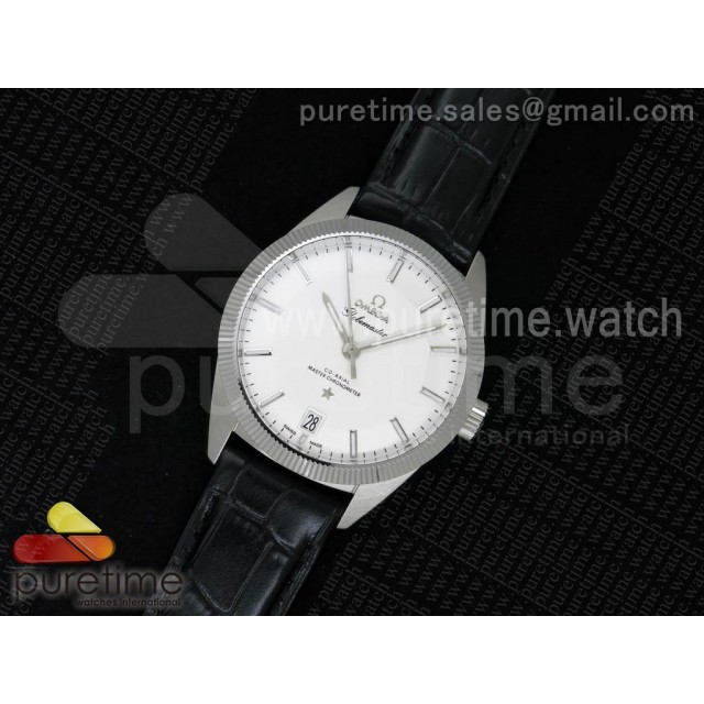 Globemaster Master Chronometer SS V6F Best Edition White Dial on Black Leather Strap A8900