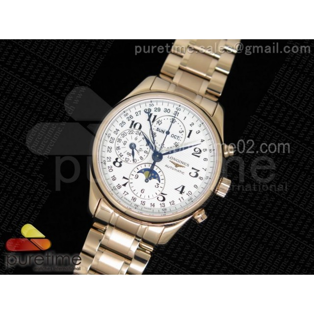 Master Moonphase Chronograph RG YLF 1:1 Best Edition White Dial on RG Bracelet A7751 (Free Leather Strap)