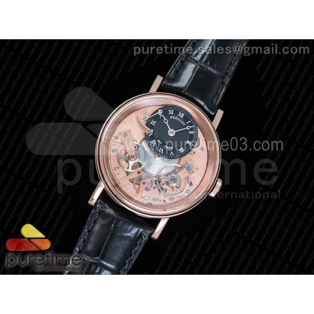 Tradition 7057BR/R9/9W6 RG Real PR SF 1:1 Best Edition Rose Gold Skeleton Dial on Black Leather Strap A507
