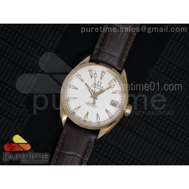 Aqua Terra 38.5mm RG White Textured Dial on Brown Leather Strap A8501