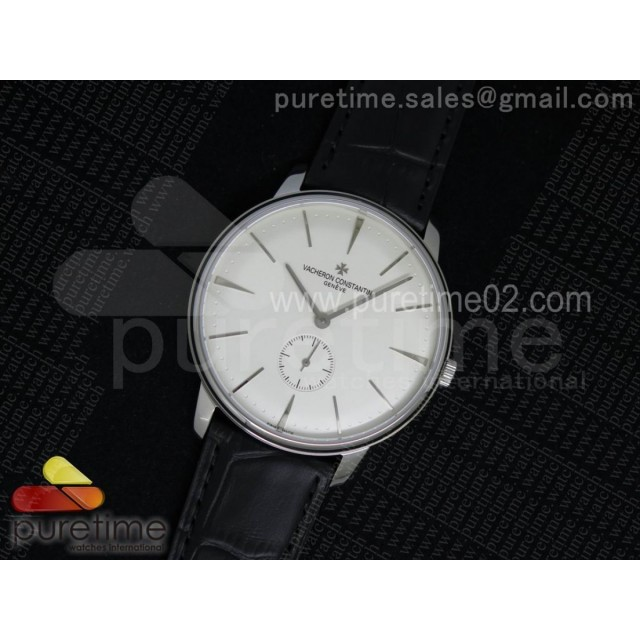 Patrimony Sub Seconds SS White Dial on Black Leather Strap A4400