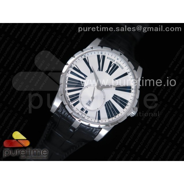 Excalibur 42mm Dbex0536 SS RDF 1:1 Best Edition Silver Dial on Black Leather Strap A830