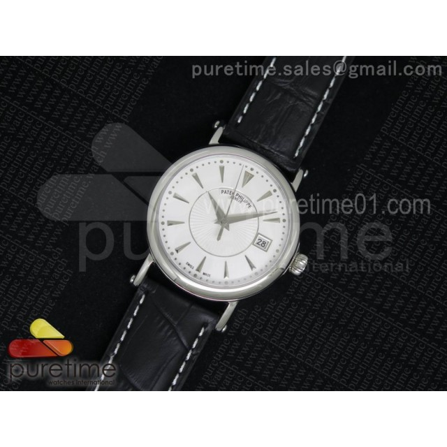 Calatrava 5153 SS White Dial on Black Leather Strap A324SC