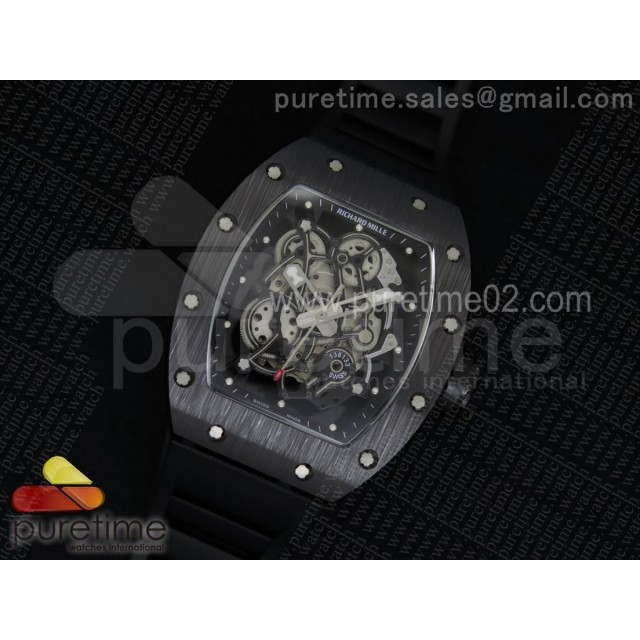 RM055 Black Ceramic Black Inner Bezel Skeleton Dial on Black Rubber Strap MIYOTA8215