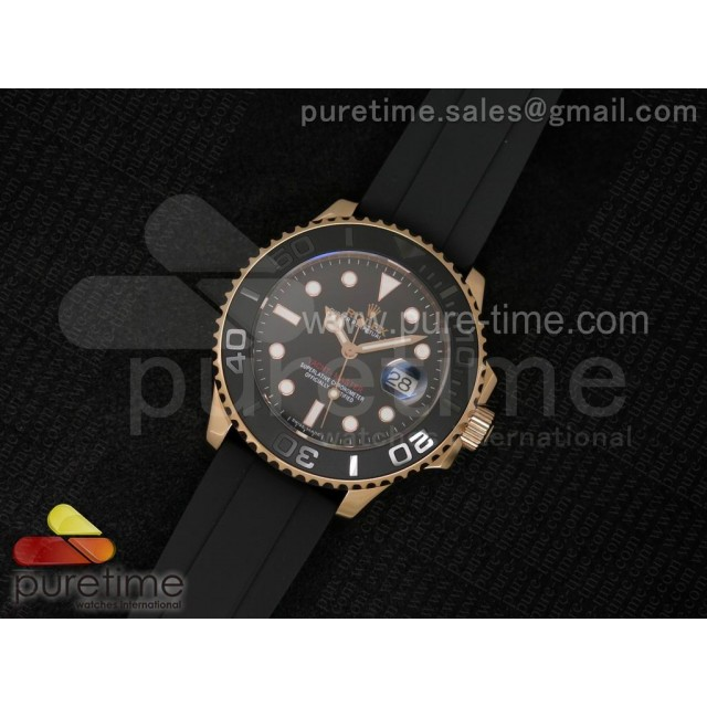 Yacht-Master 116655 RG Black Dial on Black Rubber Strap A2836
