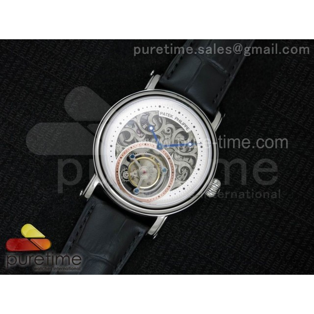 Classic Tourbillon SS AXF White Skeleton Dial on Black Leather Strap
