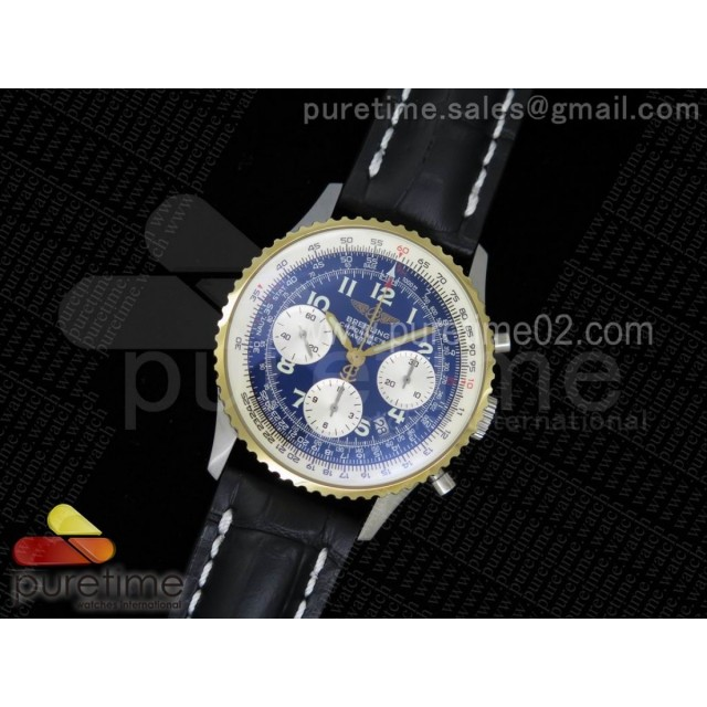 Navitimer 01 SS Blue Dial on Black Leather Strap A7750