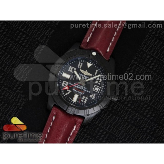 Avenger II GMT PVD Black Dial Arabic Numerals Markers on Red Leather Strap A2836