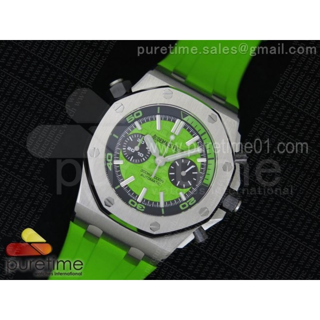 Royal Oak Offshore Diver Chronograph Green JF Best Edition on Green Rubber Strap A3126