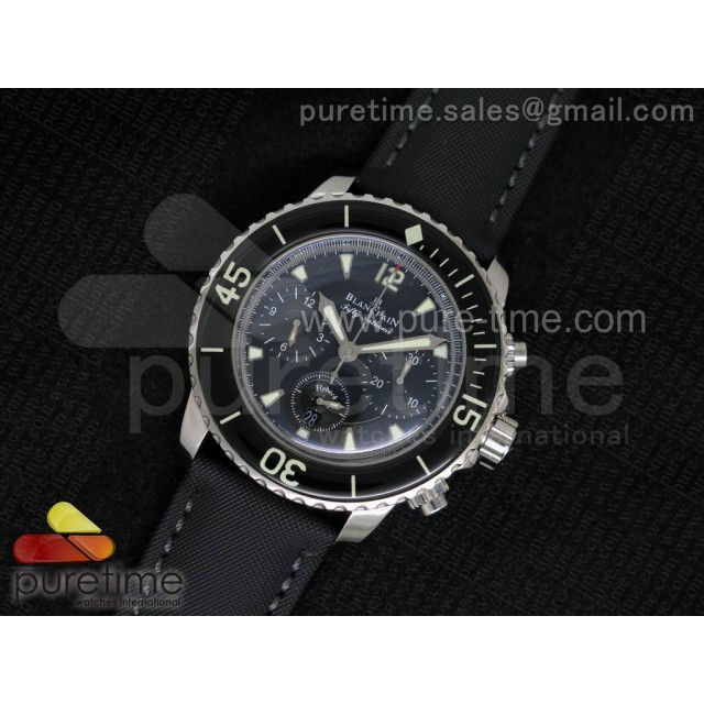 Fifty Fathoms Chronograph SS Black Dial on Sail-canvas Strap A7750