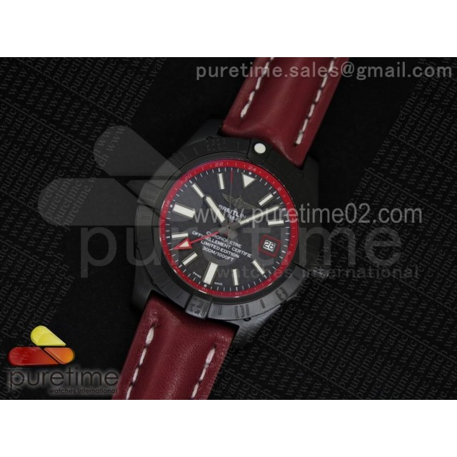 Avenger II GMT PVD Carbon Fiber Dial on Red Leather Strap A2836