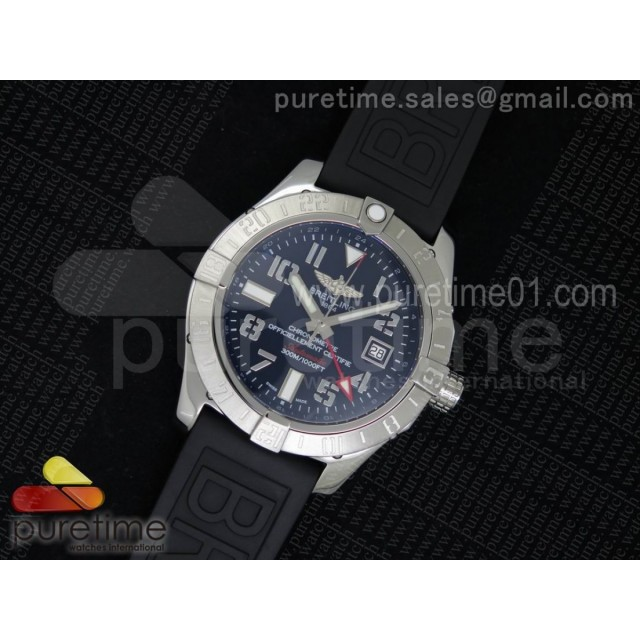 Avenger II GMT SS Black Dial Arabic Numerals Markers on Black Rubber Strap A2836