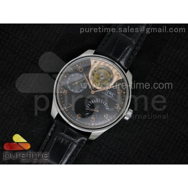 Portuguese Tourbillon Mystere SS TF Best Edition Black Dial on Black Croco Leather Strap