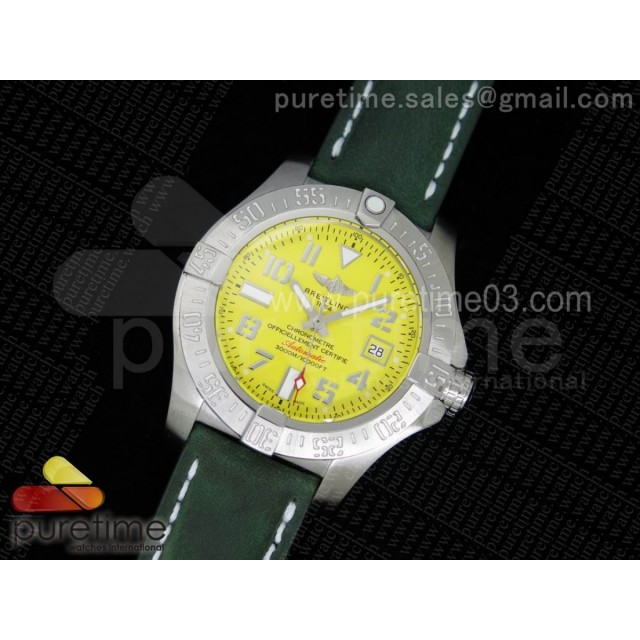 Avenger II Seawolf SS Yellow Dial Roman Numeral Markers on Green Leather Strap A2824