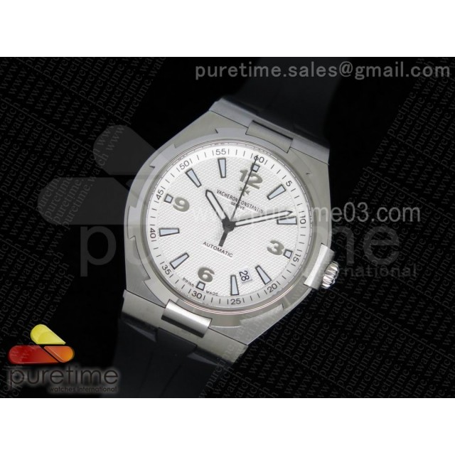 Overseas SS 1:1 Best Edition White Textured Dial on Black Rubber Strap MIYOTA9015