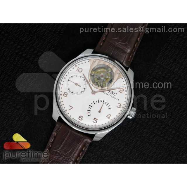 Portuguese Tourbillon Mystere SS TF Best Edition White/RG Dial on Brown Croco Leather Strap