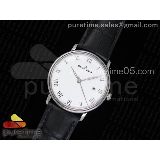 Villeret 6651 SS ZF 1:1 Best Edition White Dial on Black Leather Strap A1151