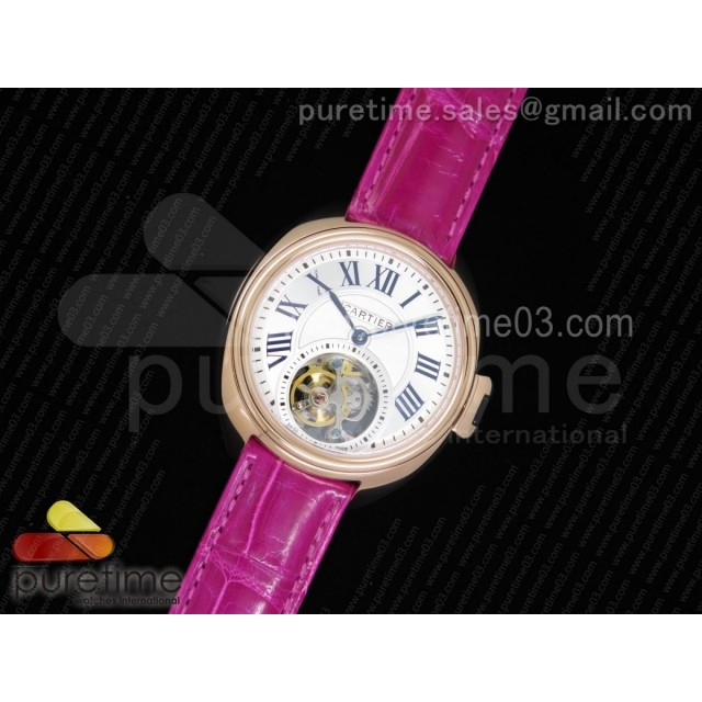 Cle de Cartier Tourbillon RG 35mm White Textured Dial on Deep Pink Croco Strap